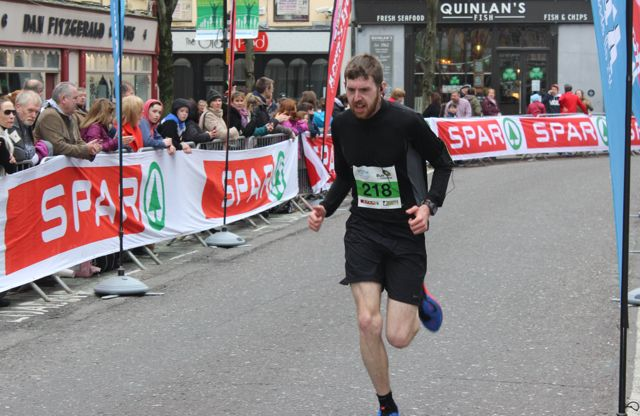 Colm Murphy at the Tralee Marathon finish line in The Mall on Sunday. Photo by Dermot Crean