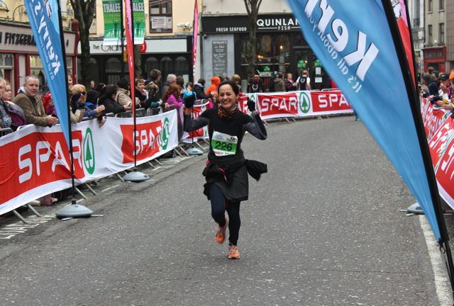 Rocio Garcia at the Tralee Marathon finish line in The Mall on Sunday. Photo by Dermot Crean