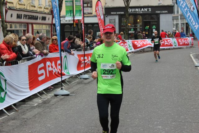 Philip Payne at the Tralee Marathon finish line in The Mall on Sunday. Photo by Dermot Crean