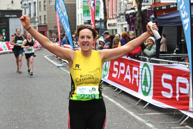 Fiona Hehir at the Tralee Marathon finish line in The Mall on Sunday. Photo by Dermot Crean