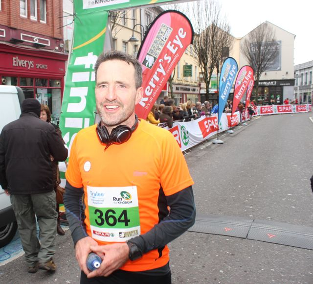 Jim Breen at the Tralee Marathon finish line in The Mall on Sunday. Photo by Dermot Crean