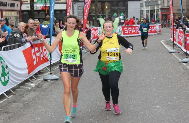 Annmarie Tritschler and Michelle Mulvihill at the Tralee Marathon finish line in The Mall on Sunday. Photo by Dermot Crean