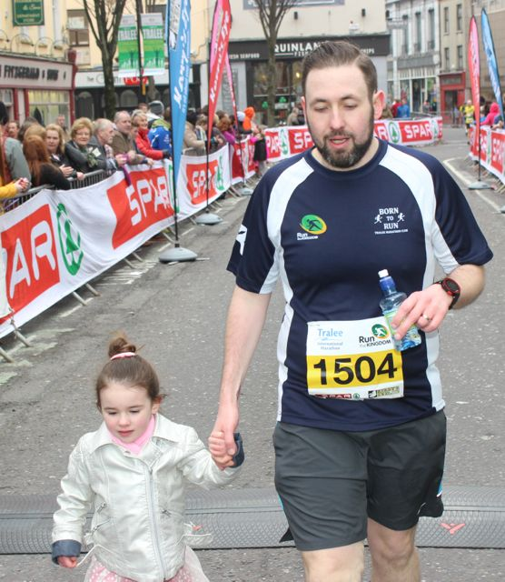 Anthon Russell at the Tralee Marathon finish line in The Mall on Sunday. Photo by Dermot Crean