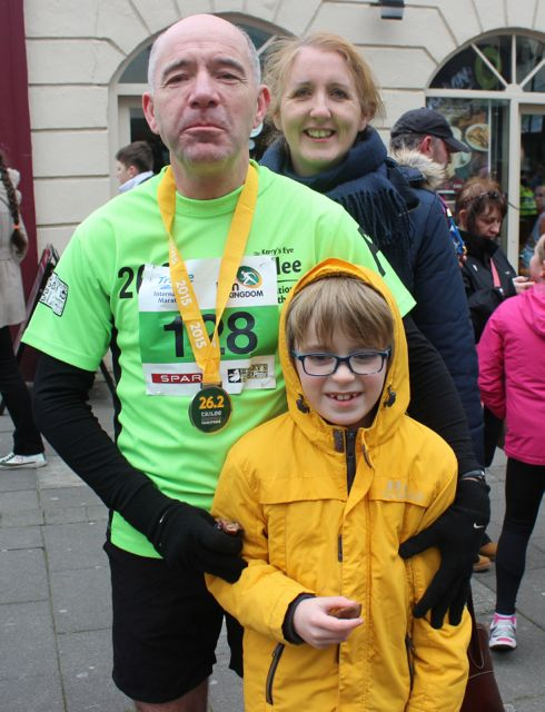 Fearghal Ann and Fintan Grimes at the Tralee Marathon finish line in The Mall on Sunday. Photo by Dermot Crean