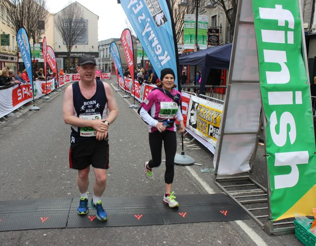 Brian White and Sarah Murray at the Tralee Marathon finish line in The Mall on Sunday. Photo by Dermot Crean