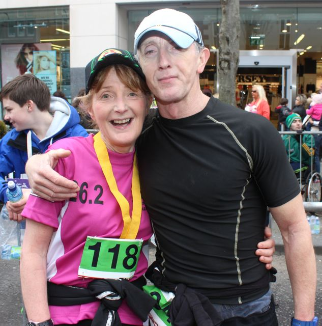 Lesley Galvin and Billy Walsh at the Tralee Marathon finish line in The Mall on Sunday. Photo by Dermot Crean