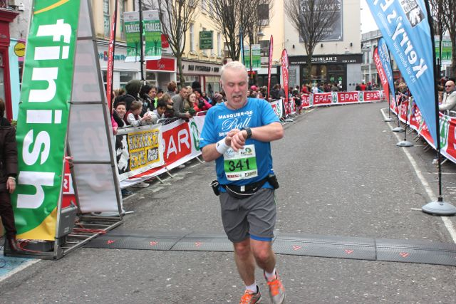 Patrick Torpey at the Tralee Marathon finish line in The Mall on Sunday. Photo by Dermot Crean