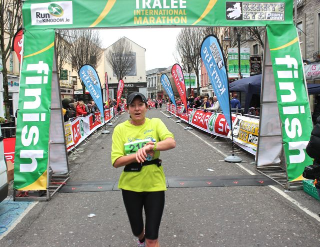 Angela Murphy at the Tralee Marathon finish line in The Mall on Sunday. Photo by Dermot Crean
