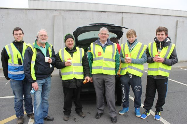 Stewards Sean Horgan, Martin Brosnan, Mike Moriarty, Dermot Crowley, Tom Healy and Paddy O'Donnell having a break during the marathon on Sunday. Photo by Dermot Crean