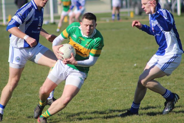 John Mitchels, Stephan O'Mahony, get's on the ball against Temolenoe in the opening round of the county league division 2. Photo by Dermot Crean.