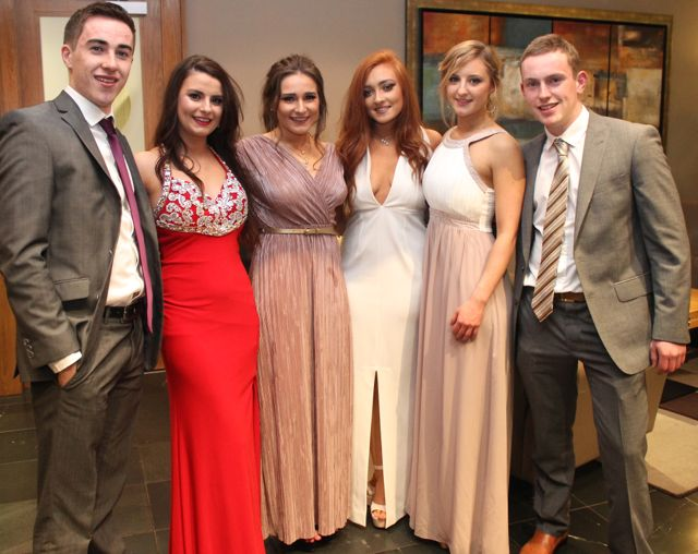 Padraig Quill, Elaine Doody, Niamh Spillane, Claire Jones, Rachel McElligott and Thomas Holly at the ITT NAGS Ball on Thursday night at the Ballyroe Heights Hotel. Photo by Dermot Crean