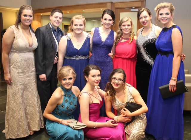 Front; Rachel Patton, Sarah Carroll and Marie O'Carroll. Back; Edel O'Connell, Stephen Sugrue, Kathy Stack, Niamh O'Sullivan, Sinead Keane, Amy Ross, Thomasena Stout at the ITT NAGS Ball on Thursday night at the Ballyroe Heights Hotel. Photo by Dermot Crean