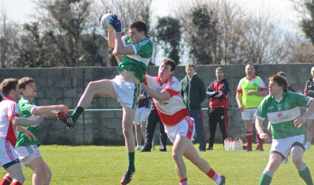 Na Gaeil's Kerry U21 player, Jack Barry rises for the ball against St Pat's. Photo by Dermot Crean.