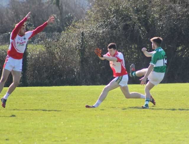 Na Gaeil's, Shane Carey, shoots at goal againstb St Pat's in the opening game of the county league. Photo by Gavin O'Connor.