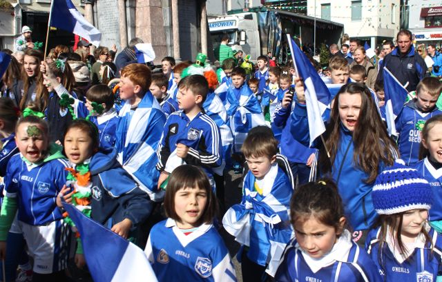 A sea of Strand Road blue at the parade. Photo by Dermot Crean