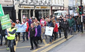 A Right2Water march goes through to town in January. Photo by Gavin O'Connor.
