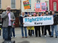 Kerry general election candidate, Michael 'Pixie' O'Gorman, speaking at a Right2Water demonstration last May. Photo by Dermot Crean.