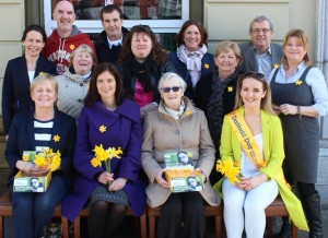 Launching Daffodil Day were, front row, from left: Kathleen Curtin, Sinead O'Keefe, Chris Griffin, Holly Lynch. Back Row: Eileen O'Shea, Ed O'Connor, Rita O'Sullivan, Pat Dineen, Brenda Griffin, Grace O'Donnell, Anne O'Connor, Pat Hussey and Gillian Wharton Slattery. Photo by Gavin O'Connor.