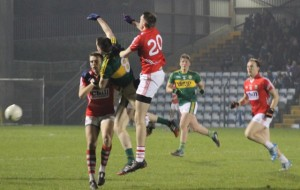 Na Gaeil's Jack Barry brakes a ball against Cork in the U21 Munster semi-final. Photo by Gavin O'Connor.