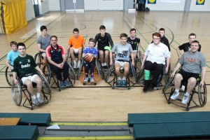 Taking part in the charity wheelchair basketball match in Mercy Mounthawk, were, front from left: Ciaran Hattar, Dept Principal Pat Fleming, Dara O'Keeffe, Dara Devine, Mark Maloney,  Liam Culloty. Back: Eoin McElligott, Giles Appleby, Donagh O'Brien, David Williams., Evan Doody,  Ronan Fitzgerald and Robbie Dinan. Photo by Gavin O'Connor.