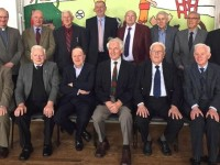 At the reunion of former members of CBS Primary School Choir on Wednesday were front, from left; Eamonn Horan, Con McCarthy, Joe Cotter, Ted O Keeffe, Liam O Connor, Paddy Breen. Back from left; Fr Padraig Walsh, John Fitzgerald, Muiris Ó Cléirigh, Denis Coleman (Principal CBS), Michael Ashe, Tim Collins, John Counihan, Paudie Murphy. Photo by Michelle Culloty