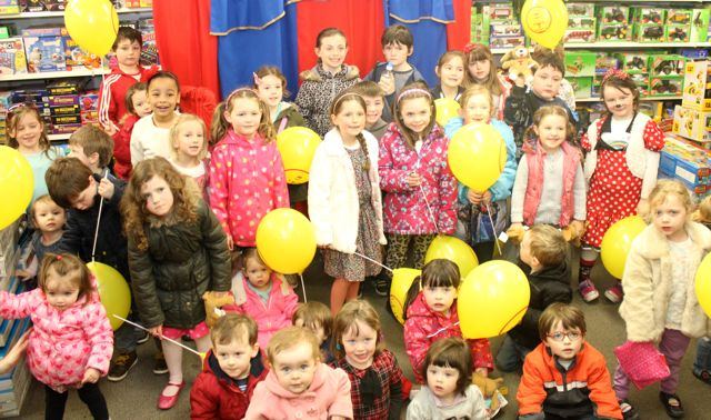 Children gathered at Caballs Toymaster for the puppet show on Saturday morning as part of the Tír Na nÓg Festival. Photo by Dermot Crean
