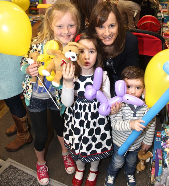 Chloe, Sophie, Mags and Jamie Quillinan at Caballs Toymaster for the puppet show on Saturday morning as part of the Tír Na nÓg Festival. Photo by Dermot Crean