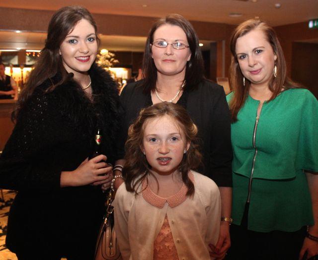 Caoimhe Carmody in front with Clodagh Carmody, Katie Lucid and Ciara Carmody at the Churchill GAA Fashion Fundraiser at the Ballyroe Heights Hotel on Thursday night. Photo by Dermot Crean