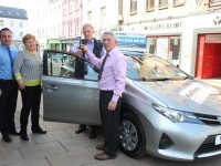 At the handover of the keys to a new Toyota Aurus were, from left: Jerry O'Sullivan (Kellihers Garage), Mary McHale, Martin McHale and Derry Fleming (Tralee Credit Union). Photo by Gavin O'Connor.