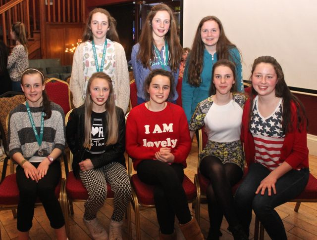 At the Tralee Imperials Basketball Club Awards night in O'Donnell's Mounthawk on Friday night were, front from left; Aoife Dillane, Rachel Kilgallen, Rachel Ryan, Katlyn Crowe, Ciara Ryan. Back from left; Rebecca Conway, Mary O'Connell and Alison O'Leary. Photo by Dermot Crean