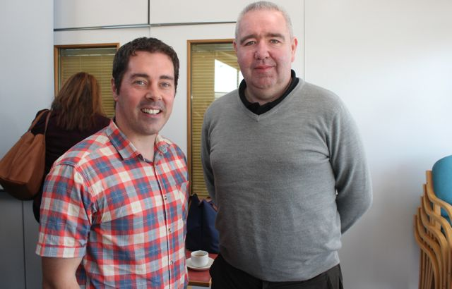 John O'Halloran and John C O'Shea of Sideline Eye at the Kerry LEO Free Seminar on 'Building a Business on Your Ideas' at the ITT on Thursday. Photo by Dermot Crean