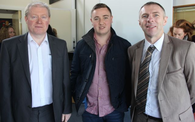Pat O'Connor of Timothy O'Connor Accountants, Conor Moloney and Paudie Healy, Impact 360 at the Kerry LEO Free Seminar on 'Building a Business on Your Ideas' at the ITT on Thursday. Photo by Dermot Crean