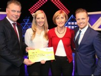 Maureen Kelly from Listowel, Co. Kerry has won €21,000 on the National Lottery's Million Euro Challenge game show on RTE on Saturday. Pictured at the presentation of prizes are from left to right: Dermot Griffin, Chief Executive at the National Lottery; Jennifer Kelly-Scannell, Maureen's daughter  guest support on the show; Maureen Kelly, the winning player and The Million Euro Challenge Host Nicky Byrne. The winning ticket was bought from Garveys Supervalu, Convent Street, Listowel. Pic: Mac Innes Photography