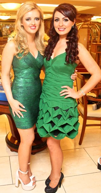 Erin O'Driscoll, Camp and Rebekah Barry, Listowel contestants in Miss Kerry 2015 which took place in the Killarney Plaza Hotel on Saturday night. Photo by Dermot Crean
