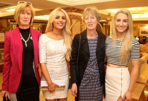 Rosalind Moore, Tralee, Laura Hogan, Limerick, Marianne Hogan, Limerick and Aoife Moore, Tralee at Miss Kerry 2015 which took place in the Killarney Plaza Hotel on Saturday night. Photo by Dermot Crean
