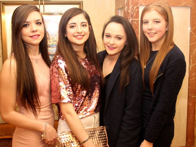 Chloe O'Shea, Kenmare, Teresa Healy Rae, Kilgarvan, Aoibhinn O'Neill, Kilgarvan and Anna Linnell, Kenmare at Miss Kerry 2015 which took place in the Killarney Plaza Hotel on Saturday night. Photo by Dermot Crean
