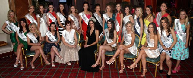 The contestants in this year's Miss Kerry competition with Miss Ireland 2014 Jessica Hayes at the Killarney Plaza Hotel on Saturday night. Photo by Dermot Crean