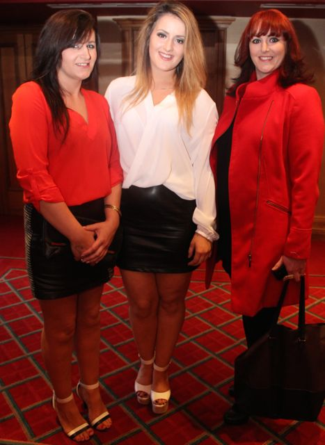 Niamh Horan, Cody Brosnan and Ciara O'Connor, Killarney, at Miss Kerry 2015 which took place in the Killarney Plaza Hotel on Saturday night. Photo by Dermot Crean