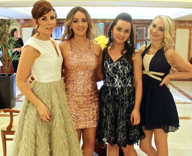 Nikki Reidy, Killorglin, Hollie Lynch, Tralee, Denise Sheahan, Killarney and Naomi Murphy, Tralee, contestants in Miss Kerry 2015 which took place in the Killarney Plaza Hotel on Saturday night. Photo by Dermot Crean