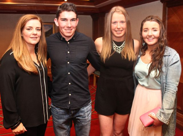 Claire O'Sullivan, Conor O'Shea, Clodagh Quinlan and Maeve Daly  at Miss Kerry 2015 which took place in the Killarney Plaza Hotel on Saturday night. Photo by Dermot Crean