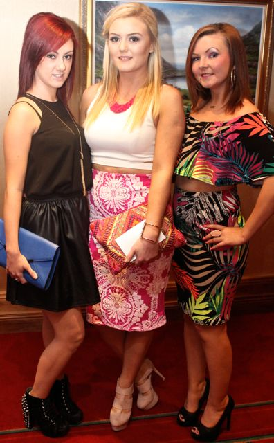 Cheryl O'Sullivan, Tara O'Sullivan and Vicky Prendergast, Tralee, at Miss Kerry 2015 which took place in the Killarney Plaza Hotel on Saturday night. Photo by Dermot Crean