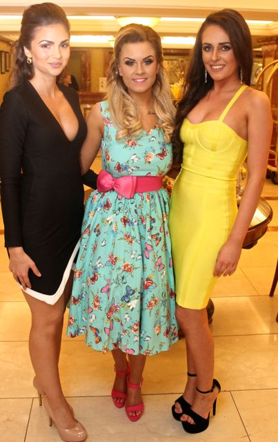 Ruzena Kristofova, KIllarney Rebecca O'Sullivan, Tralee and Brogan O'Sullivan, Abbeydorney , contestants in Miss Kerry 2015 which took place in the Killarney Plaza Hotel on Saturday night. Photo by Dermot Crean