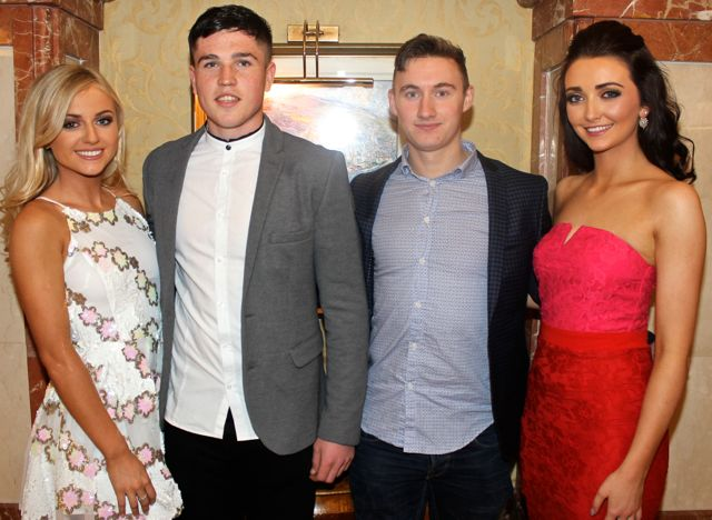 Contestants Clodagh Moore, Tralee and Sarah Jane Kearney, Killarney, with Liam Kearney and Kerry senior star James O'Donoghue at Miss Kerry 2015 which took place in the Killarney Plaza Hotel on Saturday night. Photo by Dermot Crean