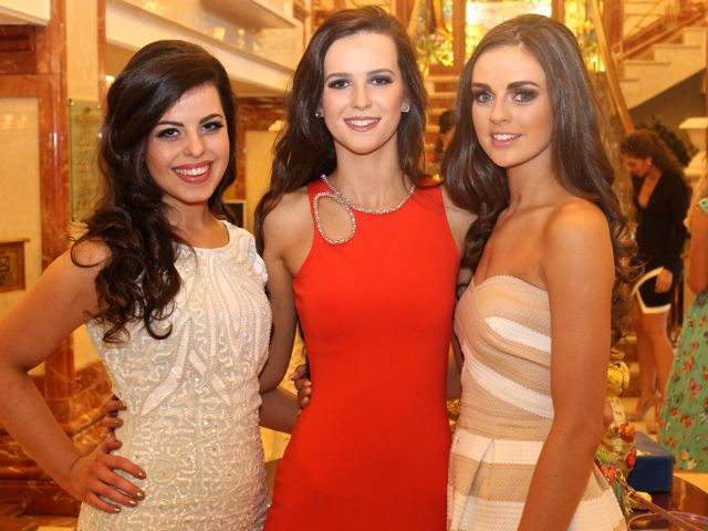 Megan Bambury, Listowel, Rayanne O'Connor Kenmare and Lisa O'Sullivan, Portmagee, contestants in Miss Kerry 2015 which took place in the Killarney Plaza Hotel on Saturday night. Photo by Dermot Crean