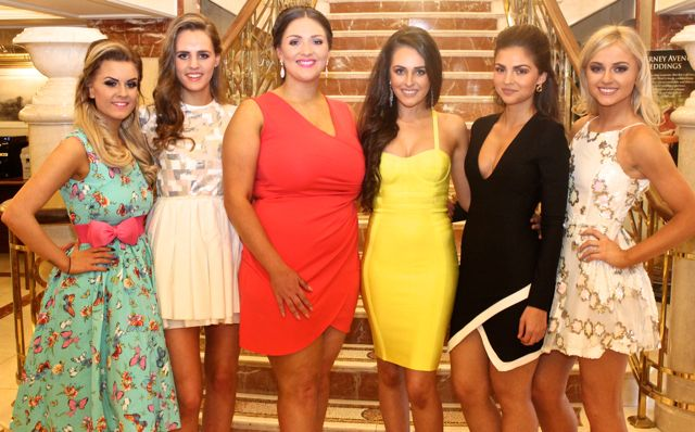 Rebecca O'Sullivan, Tralee, Síle Reidy, Ballymac, Christine Leahy, Tralee, Brogan O'Sullivan, Abbeydorney, Ruzena Kristofova, Killarney and Clodagh Moore, Tralee, contestants in Miss Kerry 2015 which took place in the Killarney Plaza Hotel on Saturday night. Photo by Dermot Crean