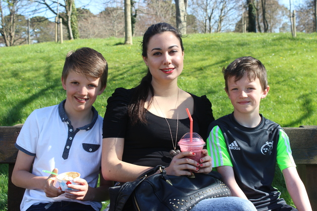 In the Town Park enjoying the great weather were, from left: Greg Byrne, Natalie Berales and Bobby Byrne. Photo by Gavin O'Connor.