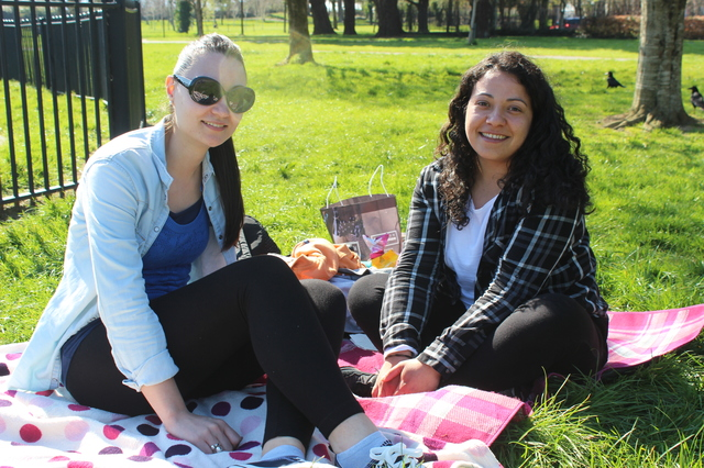 In the Town Park enjoying the great weather were, from left: Esta Lobato and Ines Delgado. Photo by Gavin O'Connor.
