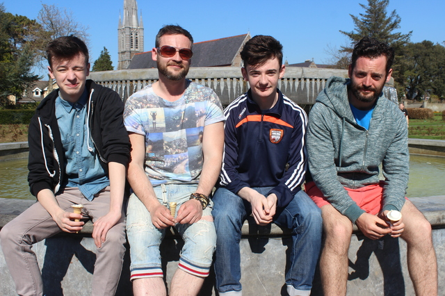 In the Town Park enjoying the great weather were, from left: Cameron McGrath, Paidi O'Dell, Stephen O'Regan and Anthony O'Dell. Photo by Gavin O'Connor.