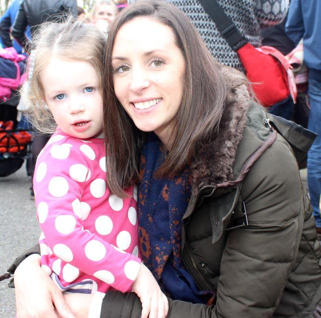 Mya and Linda Dennehy at the Meadowlands Hotel Kids Fun Run at the Town Park on Saturday afternoon as part of the Tír Na nÓg Festival. Photo by Dermot Crean