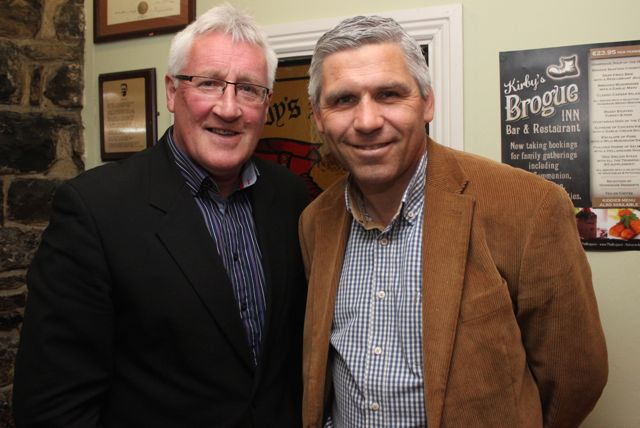 Judge for 'The Restaurant' Pat Spillane with Stephen Stack at the fundraiser in Kirby's Brogue Inn on Wednesday night. Photo by Dermot Crean